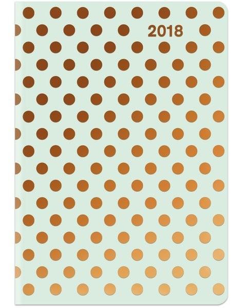 Buchkalender Punkte 2018 - Midi Flexi Diary GlamLine DOTS, Taschenkalender - 12 x 17 cm