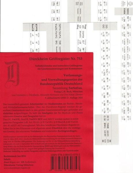 Sartorius 1: Verfassungs- und Verwaltungsgesetze Griffregister Nr. 753 (2016/2017), 128 bedruckte Gr